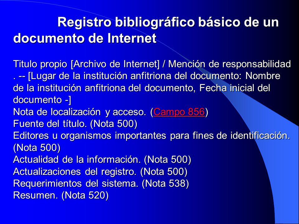 Registro bibliográfico básico de un documento de Internet Titulo propio [Archivo de Internet] / Mención de responsabilidad .